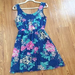 Delia's Navy Lace Multicolored Floral Sundress